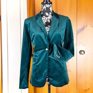 Adrienne Vittadini | Velvet Emerald Green Blazer